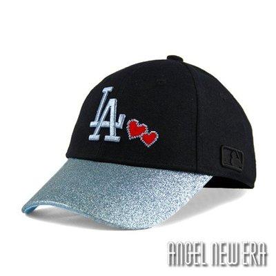 【PD帽饰】【MLB Old Fashioned Cap】道奇 LA 黑 藍 老帽 金蔥 愛心【ANGEL NEW ERA 】