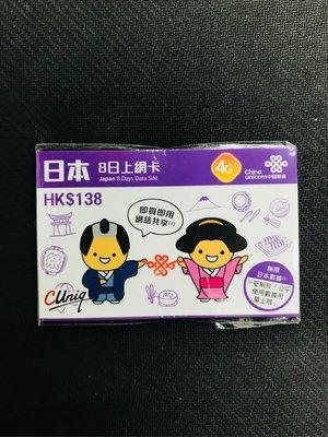 中國聯通 日本數據SIM 4G LTE 8日 無限數據咭 日本上網