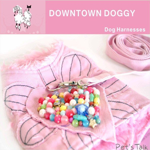 Pet's Talk~獨家推出 超美款澳洲設計品牌DOWNTOWN DOGGY愛心花手工胸背帶