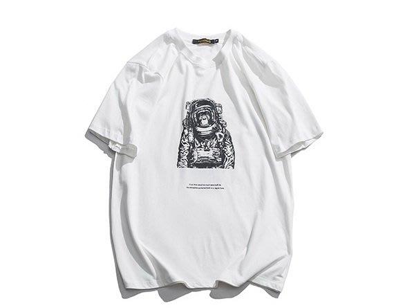 衣尚時裝☆ZEBRA☆日系街頭風格潮T太空猩猩圖案短袖T恤上衣(白色)~預購+現貨