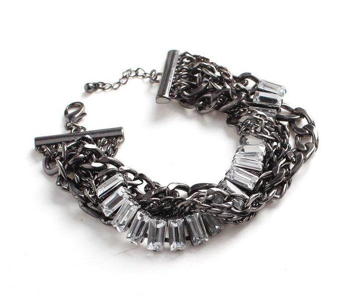 [C.M.平價精品館]現貨出清特價/別緻有型閃耀玻璃金屬多層次個性手環/手鐲