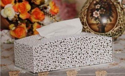 【王哥廠家直銷】素雅銀花面紙盒抽紙盒創意時尚木皮革車用別致弧形家居 高貴素雅 品味時尚