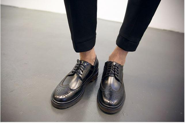 【NoComment】英倫紳士 雕花厚底 透氣牛筋馬丁鞋