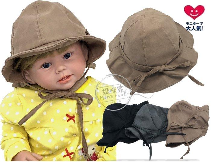 媽咪家【R106】R106綁帶遮陽帽 卡其布 軟綿 翻邊 防曬 遮陽帽 寶寶帽 盆帽 造型 兩用帽 適合頭圍52cm內