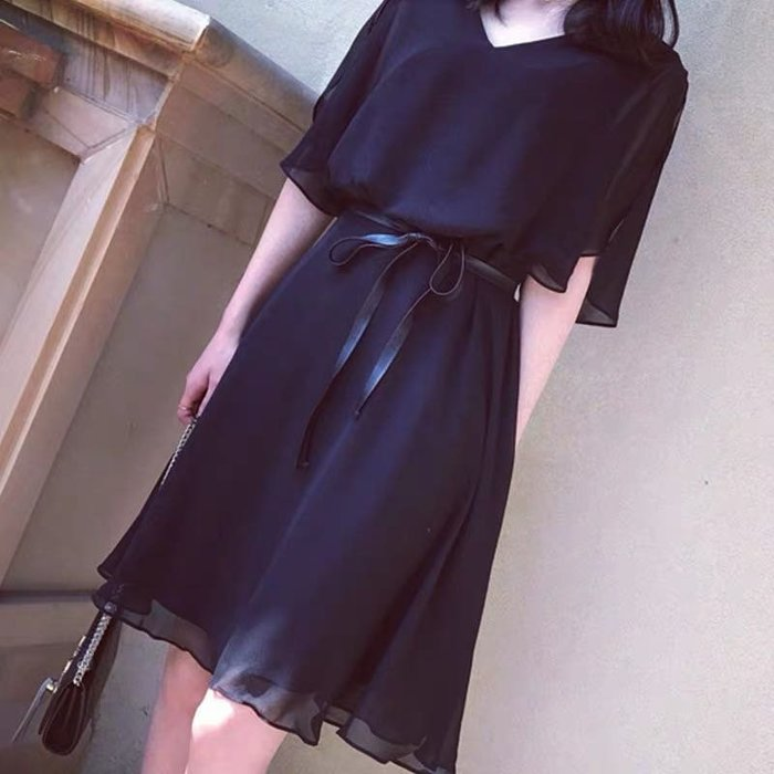 韓版氣質雪紡連身裙洋裝寬鬆繫帶洋裝