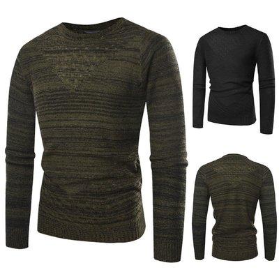 『潮范』 WS11 新款外貿WISH圓領3D鏤空條紋毛衣 條紋針織衫 男士拼色圖案毛衣NRG2652