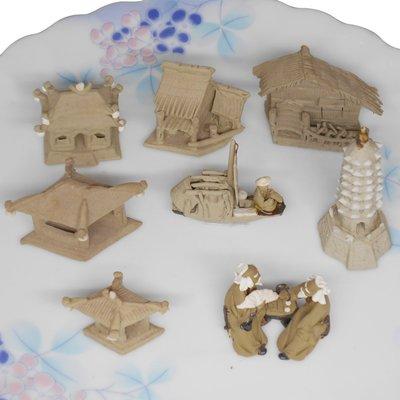 大陸石灣陶手工雕塑小人國之中國風茅屋古亭迷你系列景物飾品8入組 (CW-008F ) 免運費