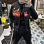 COtton男裝衣櫃春季新款老鷹印花潮牌棒球領飛行員夾克男潮流修身正韓短款外套潮