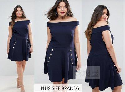 (嫻嫻屋) 英國ASOS-Club L Plus優雅名媛一字領圓弧裙排扣藍色禮服洋裝 現貨UK20大尺碼