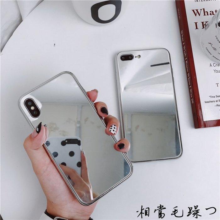 補妝鏡子iPhone8plus手機殼7P銀色鏡面蘋果x全包硅膠軟殼6S女款潮蘋果手機殼