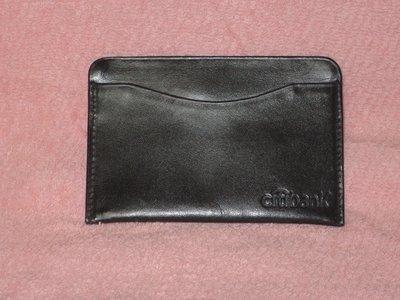 【李歐的二手皮件】*9成新以上 citibank 非LANVIN黑色 牛皮 真皮 薄型 名片夾 卡夾 證件夾 下標就賣*