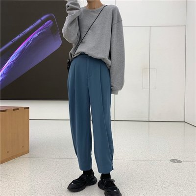 VSVSHOP♥實品照 褲腳收腳設計闊腿休閒褲 九分褲 (黑/藍/S/M/L) P99109