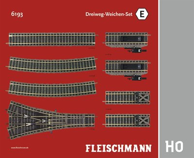 傑仲 博蘭 FLEISCHMANN 鐵軌零件 Track Pack – Three-way Set E 6193 HO