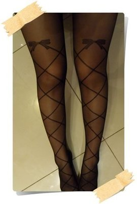 ~Chia sweet shop~ 黑色膝上蝴蝶結交叉綁帶線條全長透膚絲襪 褲襪 504