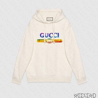 【WEEKEND】 GUCCI Sequin Logo 彩色亮片 連帽 衛衣 帽T 米白色 19春夏 469251