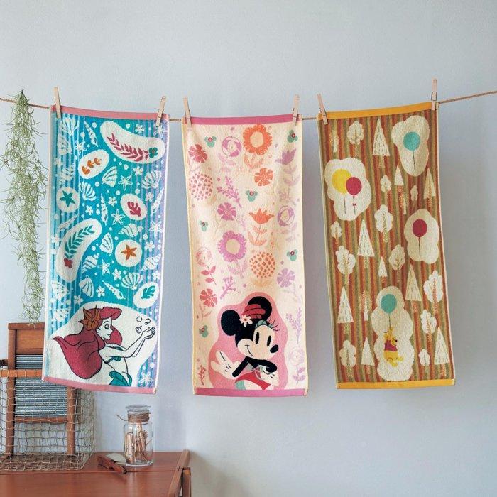 迪士尼Disney《預購》100%綿 攜帶方便 薄型毛巾34×75cm~愛麗兒 米妮 維尼~日本正品~共3款~心心小舖春