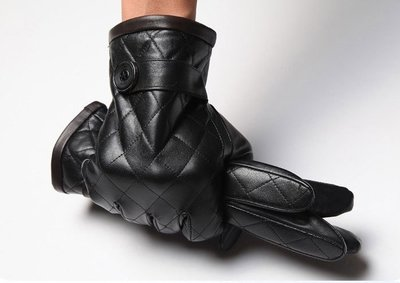 『老兵牛仔』CK-2006加絨保暖真皮打格進口山羊皮手套/男手套/時尚/羊皮手套/個性