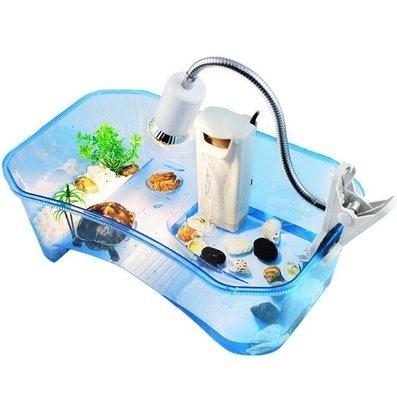 烏龜缸小養龜盆箱巴西帶曬台魚缸水陸缸烏龜塑膠養烏龜活體專用缸ATF-喜氣洋洋