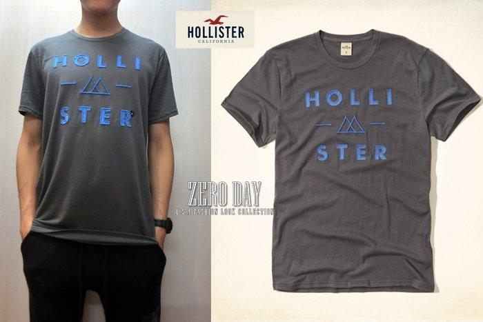 【超值回饋價】HCO美國真品Hollister co.Logo Applique Graphic Tee刺繡貼布T-深灰