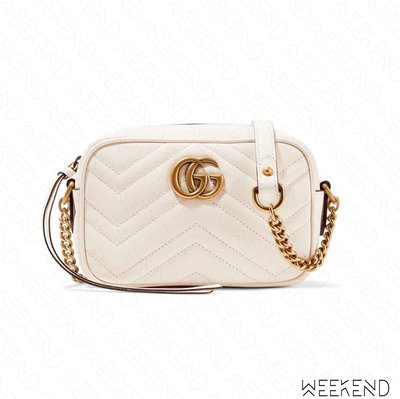 【WEEKEND】 GUCCI Mini GG Marmont 皮革 山形紋 肩背包 相機包 白色 448065