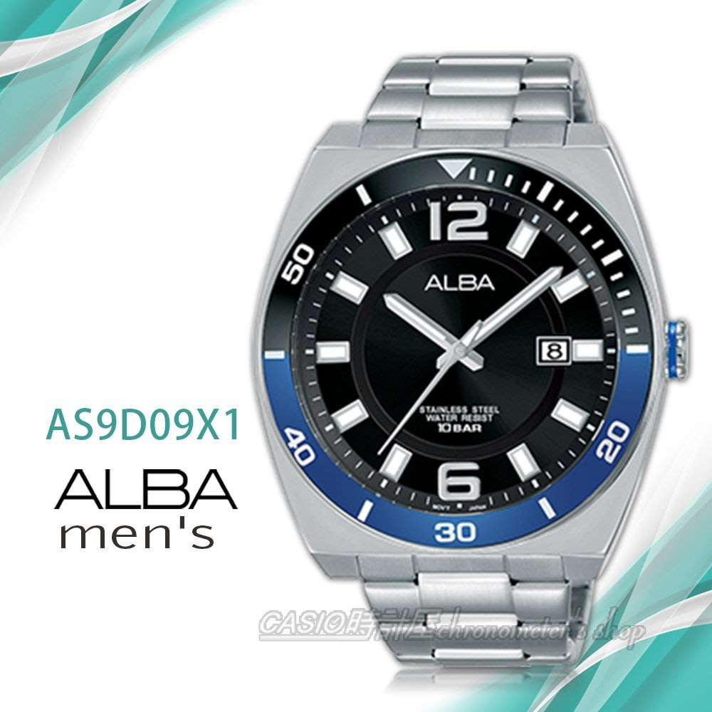 super popular b7de2 75047 CASIO時計屋 ALBA 雅柏手錶 AS9D09X1石英男錶 不鏽鋼錶帶 黑 防水100米 日期顯示 全新品 保固一年