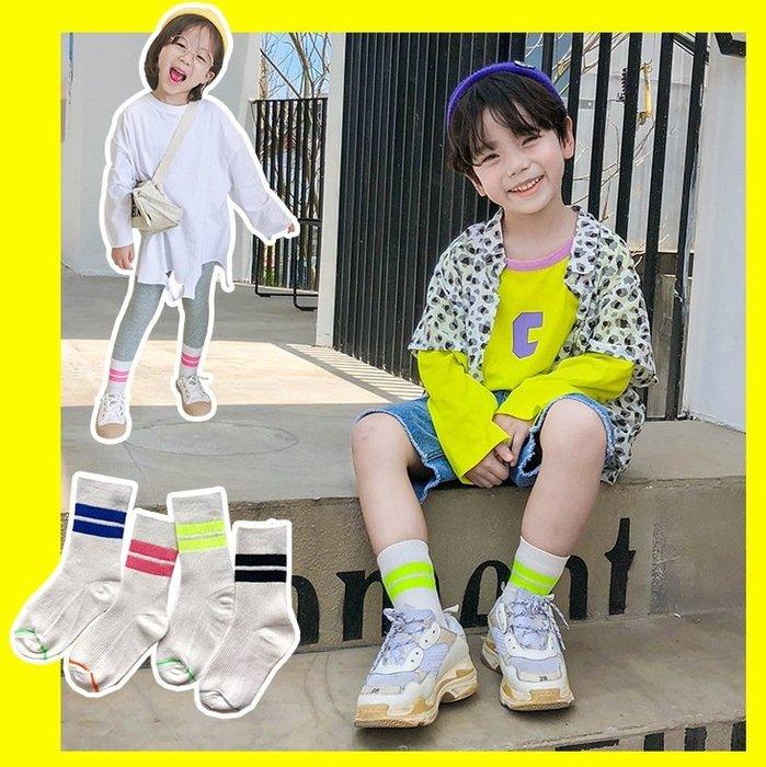 【小阿霏】兒童短襪 女童男童亮色雙槓運動型棉襪 個性潮襪子PA320