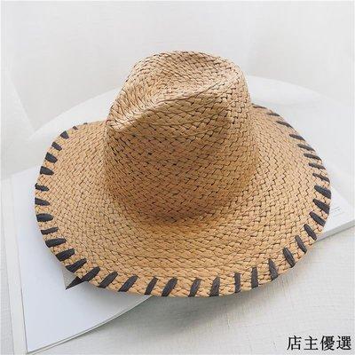 帽子女夏天潮韓版草帽拉菲草遮陽帽海邊度假出游沙灘帽