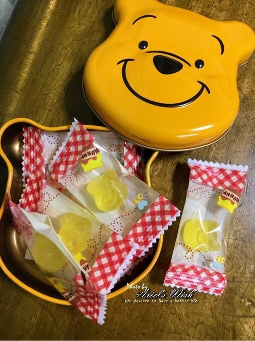 Ariel's Wish-日本東京迪士尼立體大頭小熊維尼winnie公仔軟糖糖果橡皮糖鐵盒鐵罐置物盒髮飾收納盒子-日本製