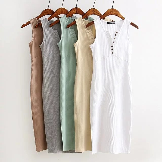 【17LOVE】夏現貨新款 名媛時尚 針織無袖 V領排扣合身 側開衩小性感 針織貼身洋裝 鵝黃 藍 黑
