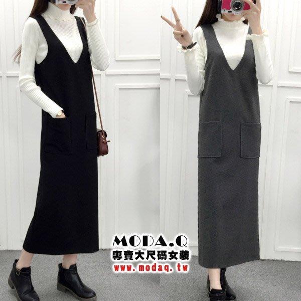 *MoDa.Q中大尺碼*【Y8633】顯瘦典雅大V領口袋造型連身背心洋裝