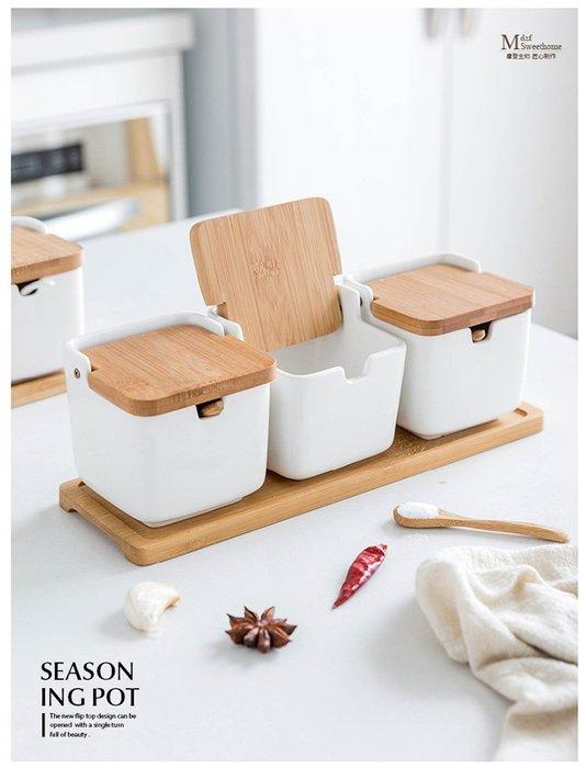 (免運) 創意日式陶瓷竹木調味罐 主婦日式調味罐