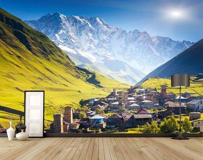 客製化壁貼 店面保障 編號F-365 山谷小鎮 壁紙 牆貼 牆紙 壁畫 星瑞 shing ruei