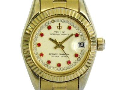 [專業模型] 女錶 [TELUX SW7615] 鐵力士 蠔士金錶/石英錶 [米色面+日期]/時尚錶