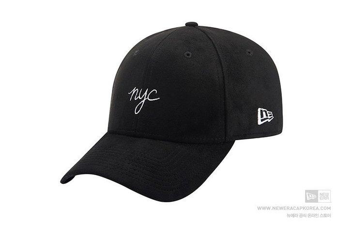 【Easy GO 韓國潮牌代購】New Era 英文字nyc麂皮超質感棒球帽/鴨舌帽(黑色)