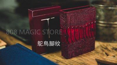 [808 MAGIC]魔術道具 TCC皮革牌夾 鴕鳥腳紋(紅)
