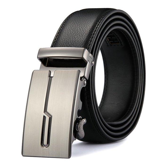 ZK2031歐風銀色造型自動扣牛皮腰帶皮帶黑色(腰圍在22-42吋以內適用)