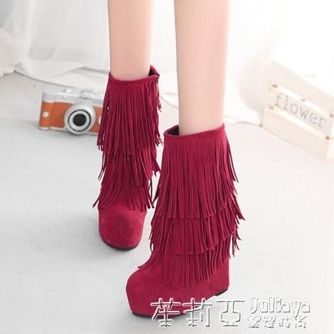 新款磨砂女鞋厚底楔形中筒靴流蘇超高跟短靴內增高單靴女靴子