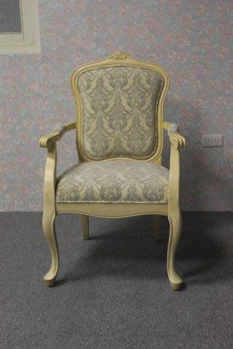美生活館--- 新古典 蘿拉 實木雕刻米黃刷舊風格立體灰絨米布花 主人椅/辦公椅/玄關椅