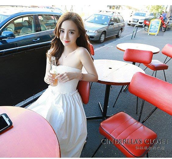 《仙杜瑞拉的衣櫃》現貨 sk0917 純白色平口 遮肚顯瘦孕婦款 半身長度露肩連身裙
