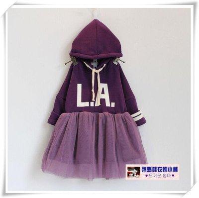 •*~ 辣媽咪衣飾小舖 ~*•❤童裝系列❤N630122韓版加絨加厚拼接字母印花紗裙長袖洋裝