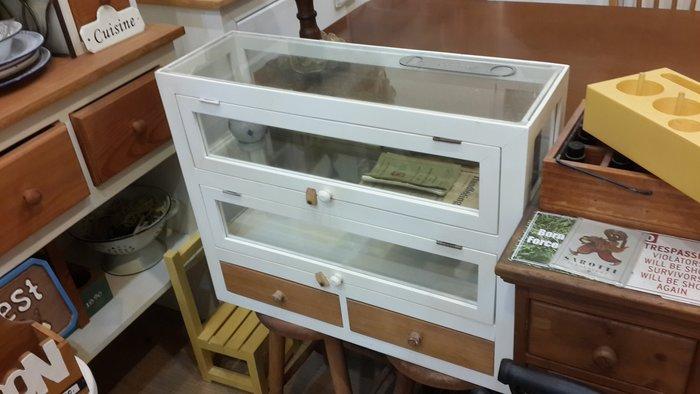 ~Cotton Milk 雜貨散步~ 日本手工原木雙抽玻璃展示收納櫃 --原木色&雙色款復古零食櫃
