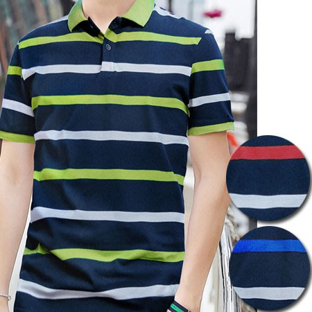 橫條紋撞色修身短袖POLO衫 拼色上衣 男短T 短袖上衣 3色 M-3XL碼【CE57079】