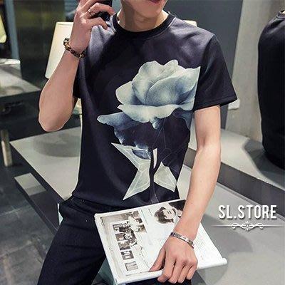 SL Store【CST944】潮流玫瑰星星印花圓領短T.黑/白/L/XL/2XL