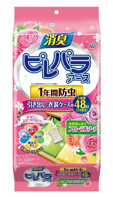 Earth製藥衣服防潮防蟲芳香劑 48枚 (玫瑰香)