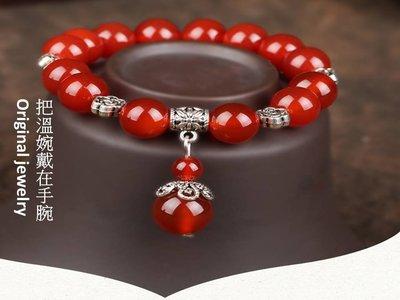 天然水晶紅瑪瑙苗銀手鍊