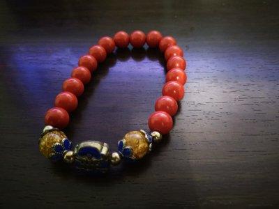 硃砂帶金藍寶手環