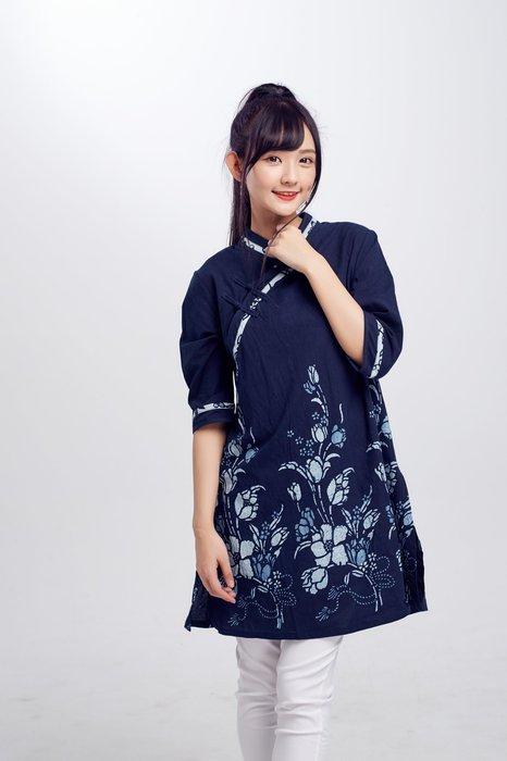 !中國藍Anewei藍染客家大襟衫/旗袍上衣~SML~另有藍素布 白底藍花款