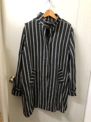 全新 男裝 KING 線條 長大衣 外套 香港製 L號 棉質 刷舊感古著風格 灰色☆BM 台北市
