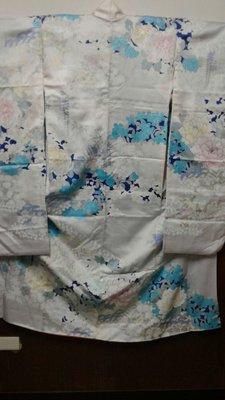 [兔尾屋和服專賣]  振袖 白藍色系花卉圖案