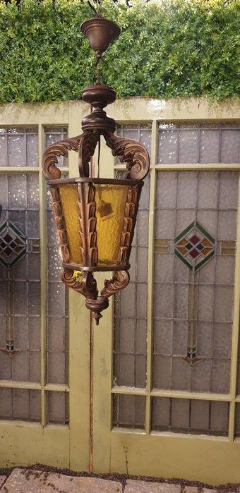 【卡卡頌  歐洲古董】西班牙老件~ 橡木雕刻  鄉村  古典  吊燈  角落燈  樓梯間燈  小空間 個性吊燈l0330